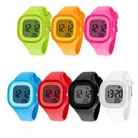 Quality Square Plastic Case LCD Digital Sports Watch With Silicone Band Soft Touch wholesale