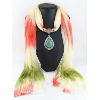 China Latest new design colourful gradient color knitting scarf with acrylic pendant on sale