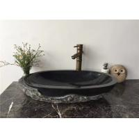 Quality Vessel Mounted Black Stone Sink Bowl Split Surface For Corridor , 400x400x140mm wholesale