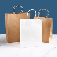 China Recycled Brown White Kraft Paper Tote Bag Gift Shopping Packaging Bag on sale