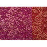 Quality Red Golden Embroidery Sequin Lingerie Lace Fabric For Wedding Dress , Decoration Lace Fabric wholesale