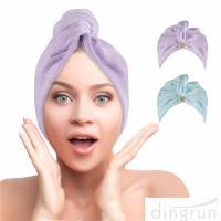 China Hair Towel Wrap Super Absorbent Hair Turbans for Women Quick Dry Hair Microfiber Towels on sale