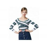 Quality Sexy Lady Cozy Knit Sweater Long Sleeve V Collar Pullover With Striped Pattern wholesale