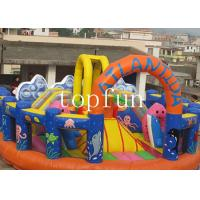 Quality Orange Blue and Yellow Inflatable Theme Park with Quadruple Stitching wholesale