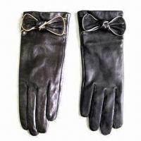 Cheap Leather Gloves with Fleece Lining and Bows in Cuff, Suitable for Ladies for sale