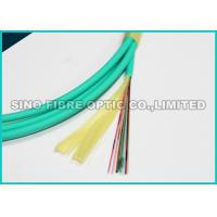 Quality Flat Round 24 Core Fiber Optic Cable OM3 100G Data Covered With Aramid Yarn wholesale