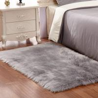 China Grey White Plush Faux Fur Rug Shag Area Rug Nursery Room Carpet Christ on sale
