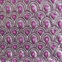 Quality Peacock Tail Pattern Purple Sequin Embroidered Fabric wholesale
