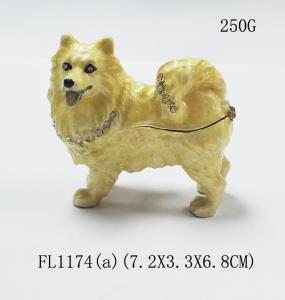 China New product animal dog Metal Crystal Rhinestone Jewelry Box cheap trinket box on sale