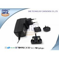 Quality Interchangeable Plug Power Adapter 12V 1A  , Black AC DC Power Adaptor wholesale