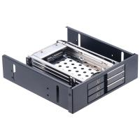 Quality Unestech 2.5in aluminum shell 3-bay SATA ROM-Space hard drive rack to 5.25 PC bay hard disk caddy tray 2.5hdd mobile rac wholesale