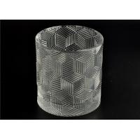 Quality Contemporary Glass Candle Holder Transparent With Embossed Pattern wholesale