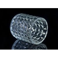 Cheap Soda Lime glass cylinder candle holders for decor , Exquisite diamond design for sale