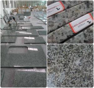 Quality Bathroom / Kitchen Green Solid Granite Worktops 0.01% Water Absorption wholesale