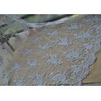Quality Floral Beaded Corded Lace Fabric , Ivory Embroidered Lace Fabric With Wavy Edging wholesale