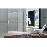 China Clear / Printed TemperedFrameless Sliding Glass Doors With Stainless Steel Towel Bar on sale