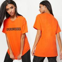 China Overdress ladies printed T shirt with O neck on sale