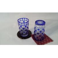 China Eco - Friendly Colored Glass Water Set Blue Painting Tumbler Household on sale