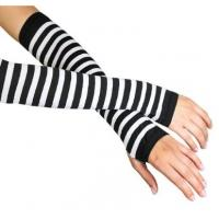 China White + Black Stripe Ladies Long Fingerless Gloves Pattern For Knitted Arm Warmers on sale
