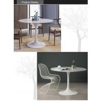 White Marble Top Dining Table with Metal Base for Living Room