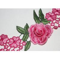 Quality 3D Flower Multi Colored Embroidered Lace Trim With High Color Fastness Azo Free wholesale
