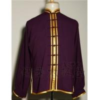 Quality purple kungfu suit with gold trim wholesale