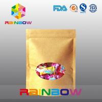 China Customized Stand Up Kraft Paper Bag With Front Window For Candy Packaging on sale
