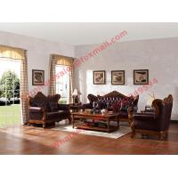 Quality European Classic Solid Wooden Carving Frame with Italy Leather Upholstery Sofa Set wholesale