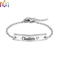 China Hypoallergenic Womens Engraved 45MM Thin Bar Bracelet on sale