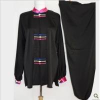 Quality black female kungfu clothes with three lines bottons wholesale