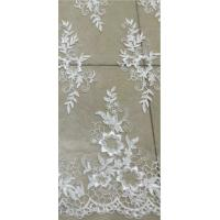 Cheap Apparel Accessories Mesh Based Embroidery Lace Fabric Ivory Color for sale