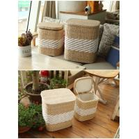 Quality Storage basket wood cabinet rush and willow laundry basket wholesale