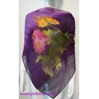 Quality 140cm square silk scarf, Chiffon silk scarves, 100% pure silk stoles by hand drawing wholesale