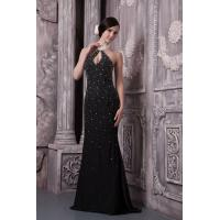 Quality Luxurious Halter Mermaid Black Evening Dresses Long Prom Dress With Beads wholesale