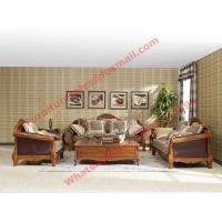 Quality European Country Style Classic Solid Wooden Sofa Made by Italy Leather and Fabric Sofa Set wholesale