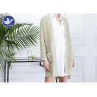 China Drop Shoulder Womens Knit Cardigan Sweaters Long Sleeves V Neck With Pockets on sale