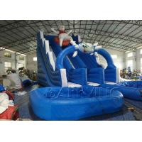 China Blue Lazy Bear Commercial Inflatable Slide With Pool , Giant Inflatable Water Slide on sale