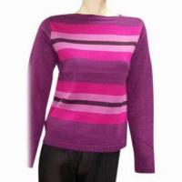 Quality Ladies sweater, viscose and spandex with stripes wholesale