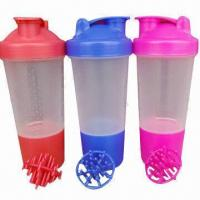 Quality 500mL Patented shaker blender/plastic water bottles with mixing ball or strainer wholesale