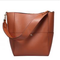 China Pure Leather Handbag Bucket Bags for Women Hot Sale Cowhide Single Shoulder Bag on sale