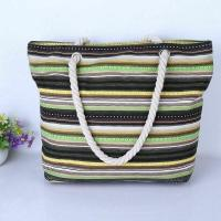 China Beautiful Casual Stripes Beach Bag With Shoulder Strap Rope Organizer Promotional on sale