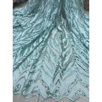 Beaded Embroidered Lace Fabric , 3D Flower Lace Mesh Fabrics For Evening Gowns