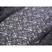 China 150cm Water Soluble Cotton Nylon Lace Fabric Black Knitted CY-LW0032 on sale