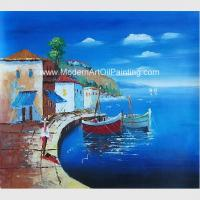 Quality Framed Seascape Mediterranean Oil Painting Canvas Handmade By Palette Knife wholesale