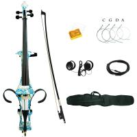 China 4/4 White Blue Flower Colored Solid Wood Electric Cello with Bag, Bow, Rosin, Aux Cable, Earphone on sale
