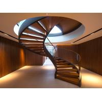Quality Durable Modern Curved Staircase Interior Solid Wood Tread With Glass Railing wholesale