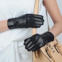 China Women 100% Real sheepskin  Leather Gloves,Five Finger Gloves with three line on sale