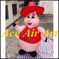 Quality custom giant 3m dancing inflatable pig cartoon for restaurant advertising wholesale