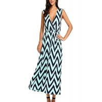 Quality Zig Zag Summer Holiday Maxi Dresses ,Elastic Waist Maxi Dresses For Short Ladies wholesale