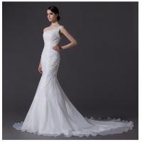 Quality Ladies Organza mermaid One Shoulder Wedding Gowns cathedral train wedding dresses wholesale